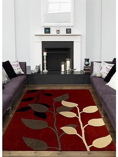 benuta Tapis de salon moderne Matrix pas cher Rouge 90x150 ...