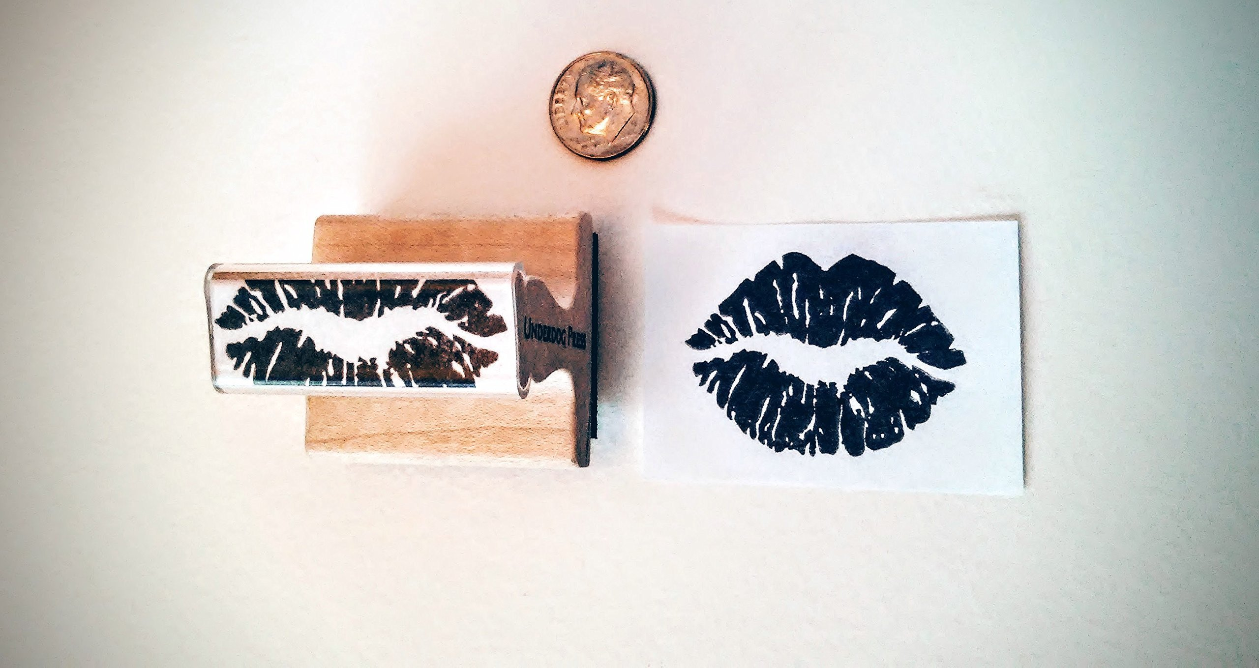Stamp - kissy lips print, 1.75''x1.25'' (apx. lifesize)