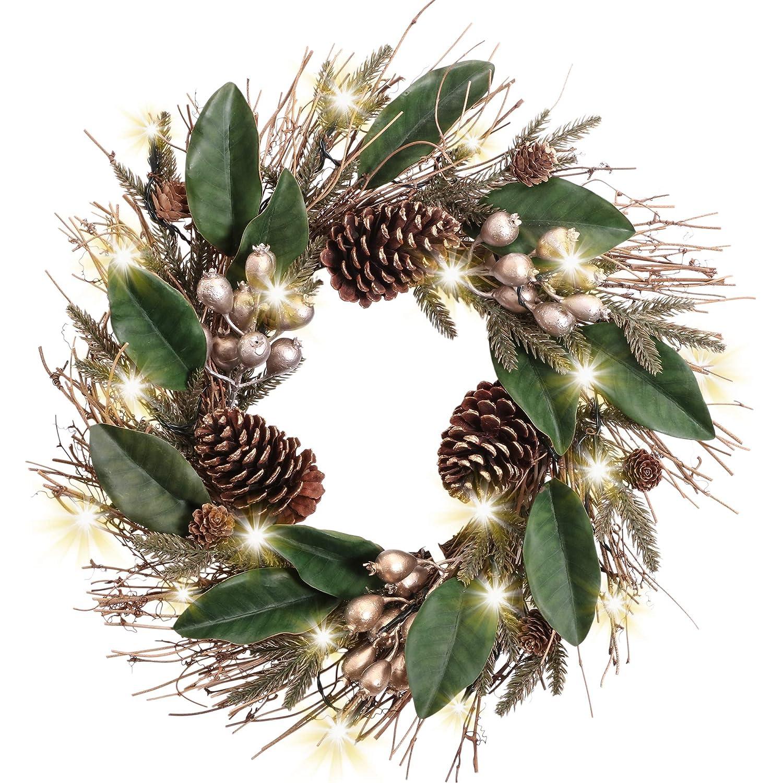 Valery Madelyn Ghirlanda Natalizia 45cm con 20 Portacandela Illuminato a LED Ghirlanda DellAvvento PVC con Funzione Timer Frutti di Natale Decorazione Ghirlanda per Porta Verde Rosso