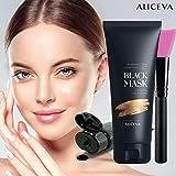 Aliceva Black Mask, Blackhead Remover Mask, Charcoal Peel Off Mask, Charcoal Mask, Charcoal Face Mask for all Skin Types with Brush - 50 Gram (1.67 fl oz) Pack