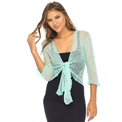Back From Bali Womens Lightweight Knit Cardigan Shrug Lite Sheer Aqua at Women's Clothing store