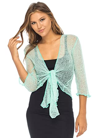 126c2c19403dd3 Back From Bali Womens Lightweight Knit Cardigan Shrug Lite Sheer Aqua