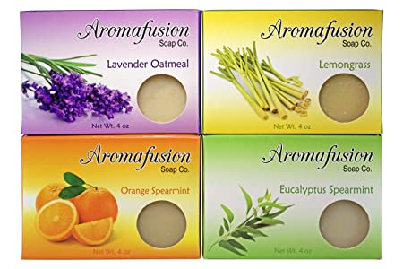 Aromafusion Soap Co Handmade Soap Gift Set Handmade Soap Set Natural Soap Gift Set Gift Set of Four Soaps Comes with Wooden Soap Dish Scented with Pure Essential Oils Handmade Soap