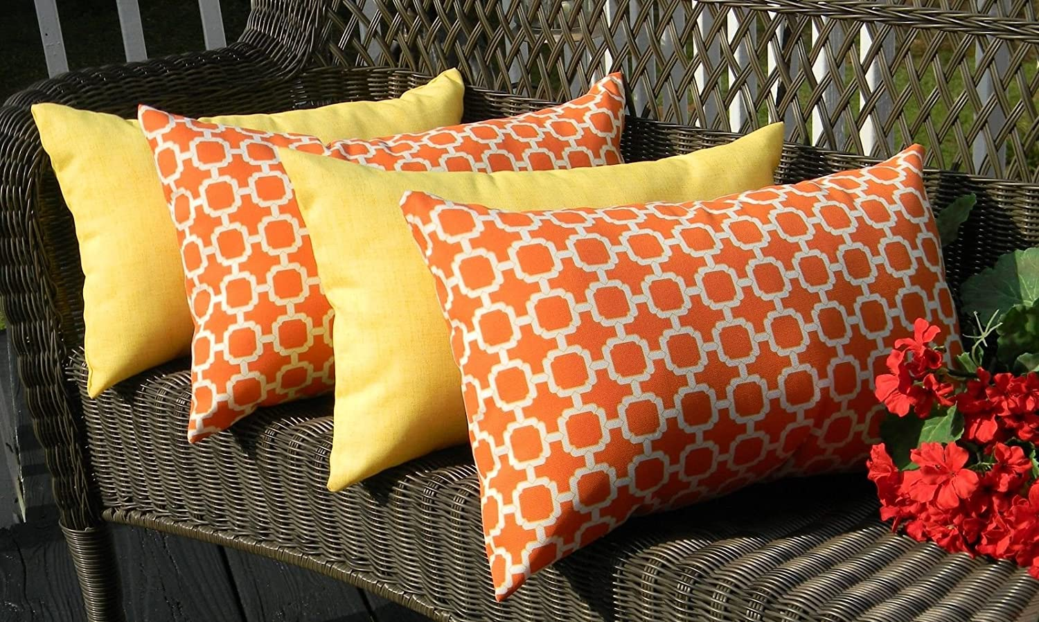 Set of 4 Indoor Outdoor Decorative Lumbar Rectangle Pillows – 2 Orange and White Geometric Hockley and 2 Solid Yellow
