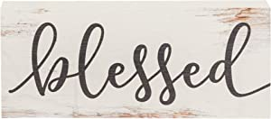 P. Graham Dunn Blessed Script Design White Wash 6 x 2.5 Inch Solid Pine Wood Farmhouse Stick Sign