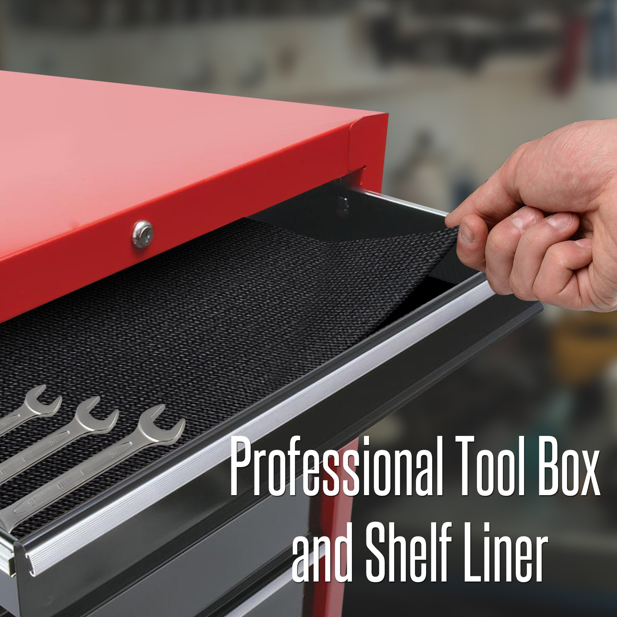 Reizen Tech Heavy Duty Tool Box Liner - 16''x7 Feet, Durable, Slip Resistant to Keep Garage Shelf, Tool Chest, Workbench Drawer, Cabinet, and Roller Tray Organized & Tools Protected, Thick 3mm by Reizen Tech (Image #4)