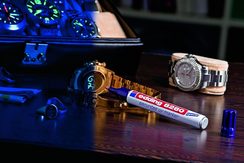 Edding 8280 - Rotulador especial Securitas UV de luz ultravioleta, 1,5 - 3 mm, transparente, color UV Marker 5er Pack: Amazon.es: Oficina y papelería
