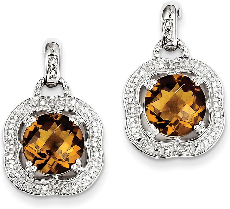 925 Sterling Silver Whiskey Quartz Post Earrings