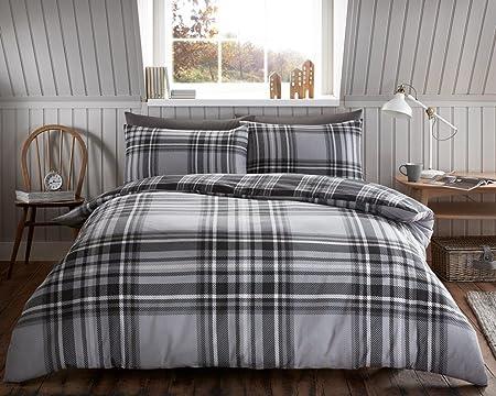 Luxury Tartan Check Flannelette Thermal 100 Brushed Cotton Duvet