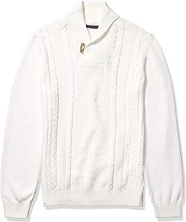 Sean John Mens Herringbone 1//2 Zip Pullover Sweater