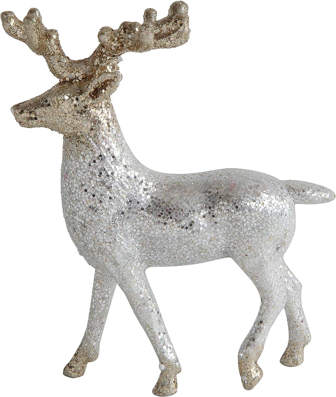 Creative Co-Op 6 Inch Plastic Deer Décor, White & Gold Glitter
