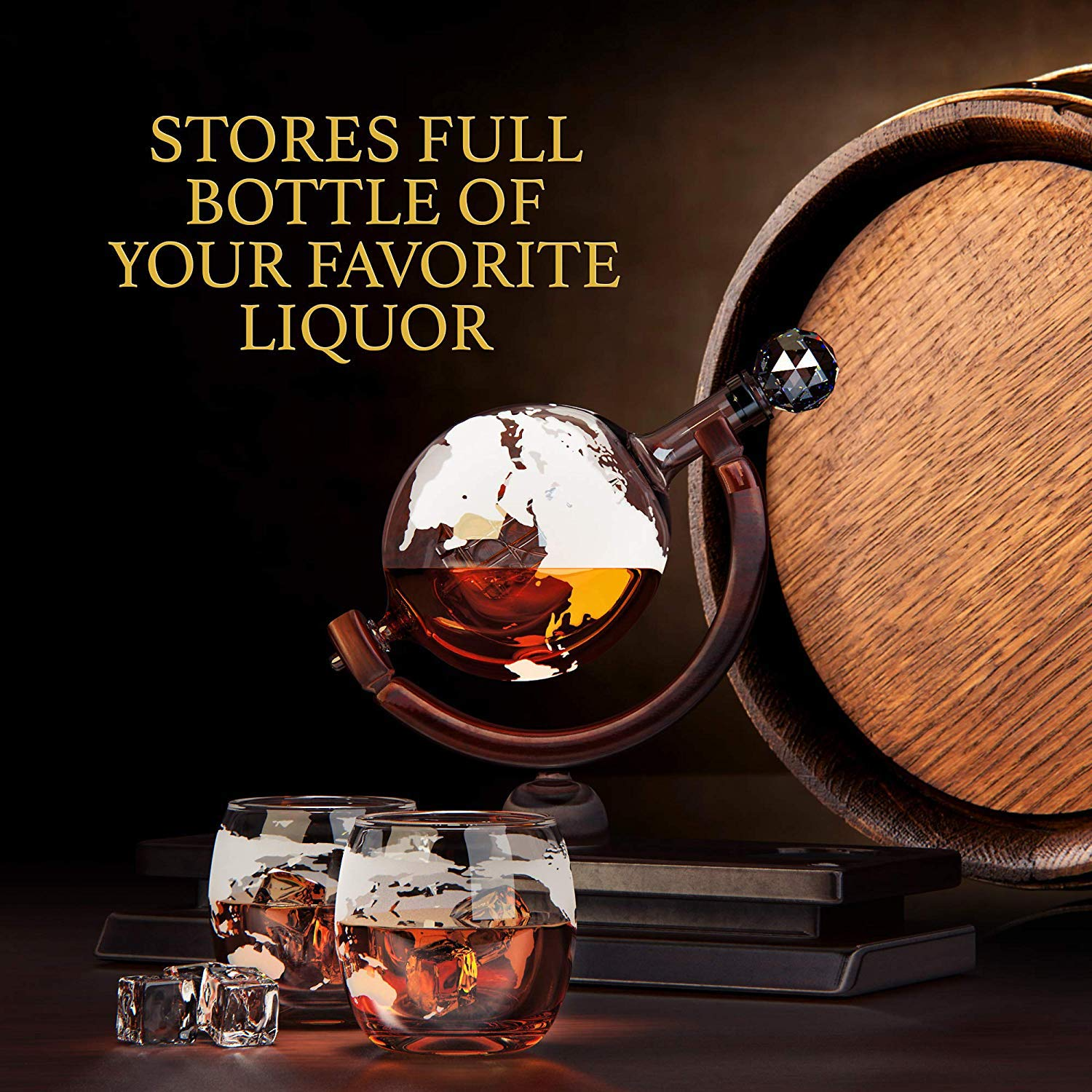 Globe Whiskey Decanter and Glass Set - Double Thickness Glass and Crystal Stopper - Liquor Decanter and Dispenser by Golden Baron (Image #2)