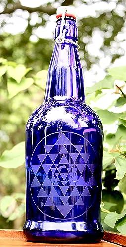 ad35c86ca568 Amazon.com: 32oz. Sri Yantra Etched Cobalt Blue Glass Bottle With ...