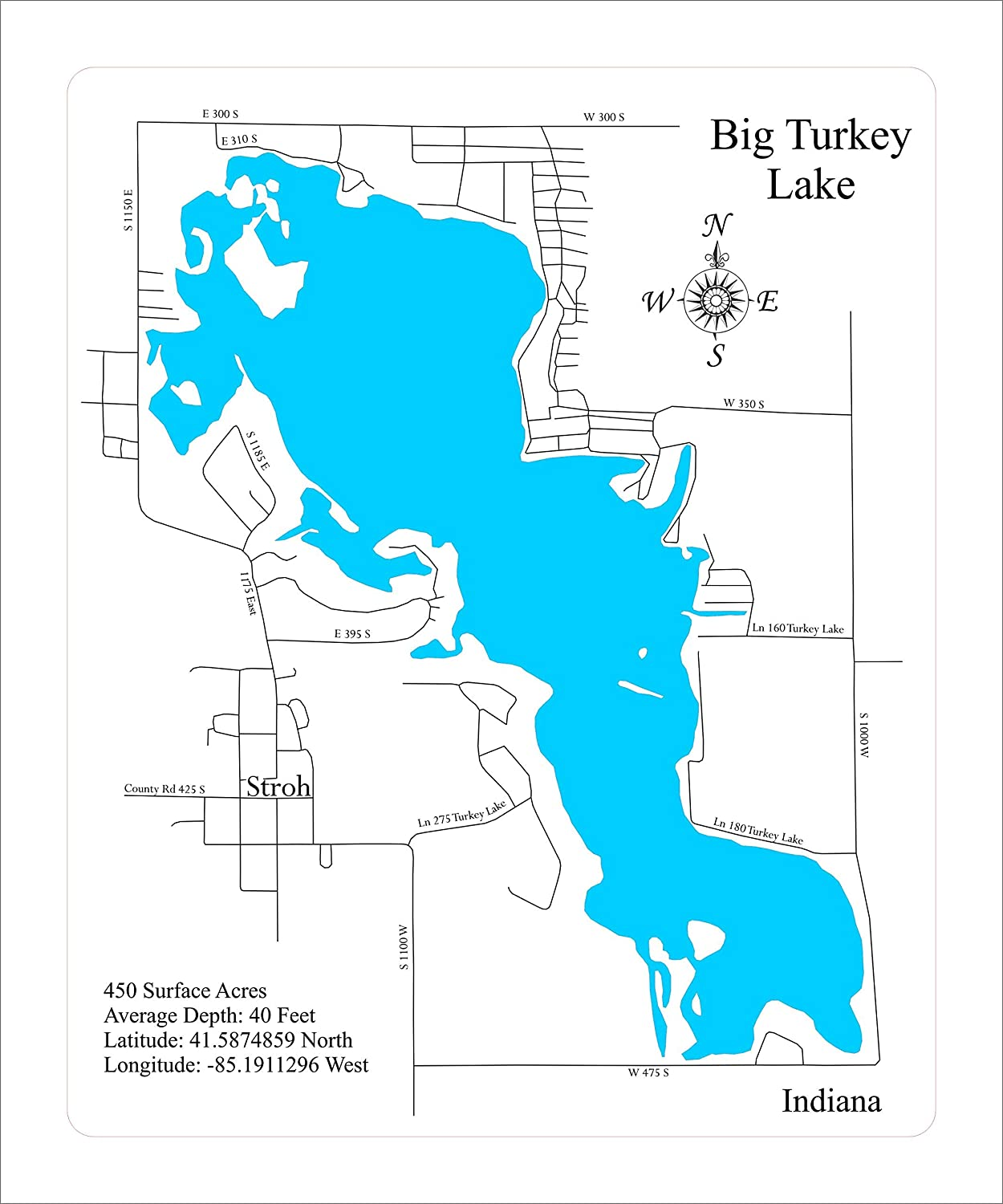 big turkey lake map Amazon Com Big Turkey Lake Indiana Framed Wood Map Wall Hanging big turkey lake map