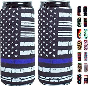 Slim Can Sleeves - Neoprene Bottle Insulator Sleeve Set of 2 Can Beverage Coolers for 12oz Energy Drink & Beer Cans (Black flag)