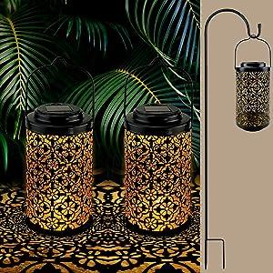 Urban Deco 32In Solar Lantern 2 Pack with Shepherd Hooks,Metal Outdoor Lanterns Decorative 10Lumens Warm White,Waterproof Solar Powered Lanterns Outdoor Hanging for Patio Garden Pathway (Black-2pack)