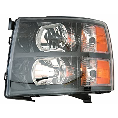 Depo 335-1145P-US2 Chevrolet Silverado Headlight Unit Set with Black Bezel: Automotive