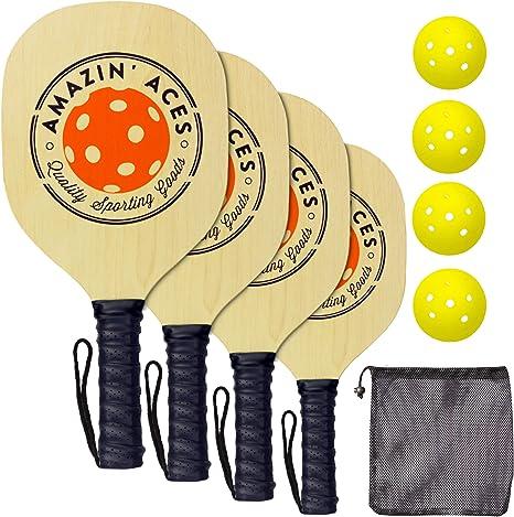 Amazin Aces Pickleball Paddle Set Pickleball Set Includes 4 Wood Pickleball Paddles, 4 Pickleballs, 1 Carry Bag & Guaranteed Fun! | ...