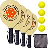 Amazin' Aces Pickleball Wood 4-Paddle Set - Pickleball Set Includes 4 Wood Pickleball Paddles, 4 Pickleballs & 1 Carry…