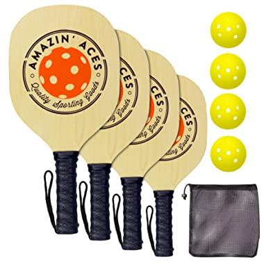 Pickleball Paddle Set By Amazin' Aces | Pickleball Set Includes 2-4 Wood Pickleball Paddles, 4 Pickleballs, 1 Carry Bag & Guaranteed FUN! | Great Rackets For Beginners | Includes Free eBook