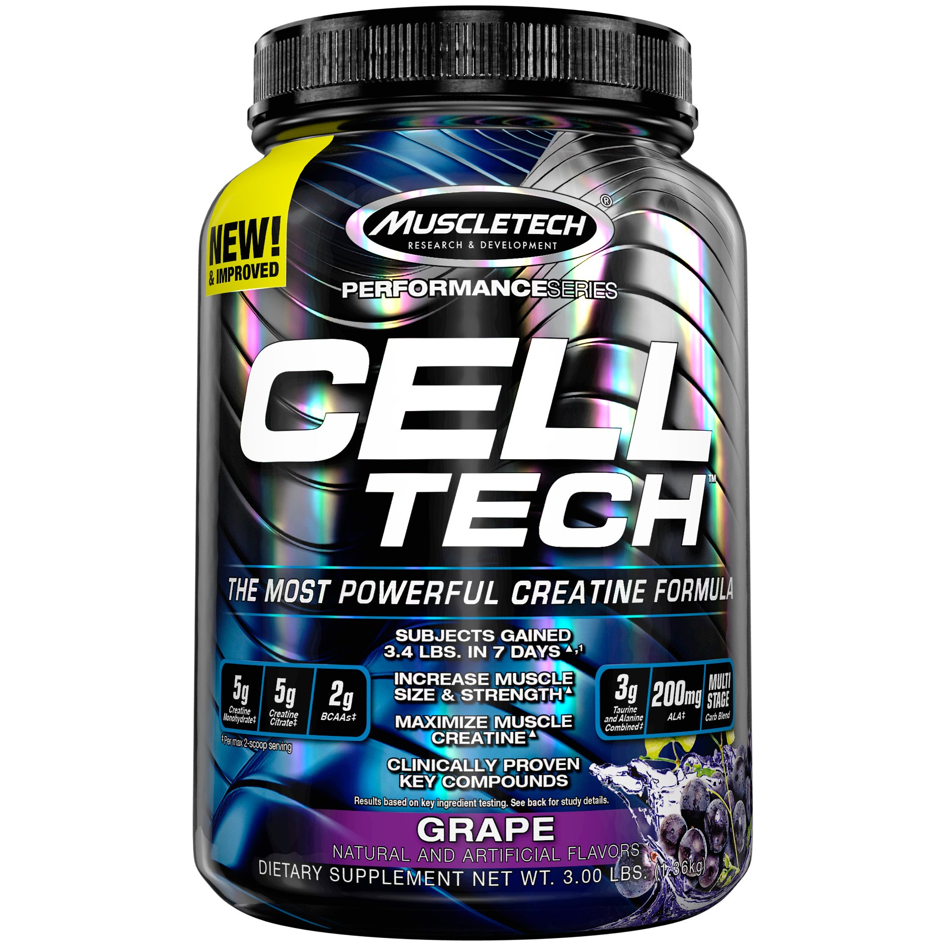 MuscleTech Cell Tech Creatine Monohydrate Formula Powder, HPLC-Certified, Improved Muscle Growth & Recovery, Grape, 30 Servings (3.09lbs)