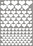 das-label Aufkleber   106 HERZEN weiß   OUTDOOR glänzend   unterschiedliche Größen   Valentinstag   Muttertag   Scrapbook   Geburtstag   Geschenke   zum bekleben von Autos   Tüten   Geschenkkartons   selbstklebende Markierungspunkte