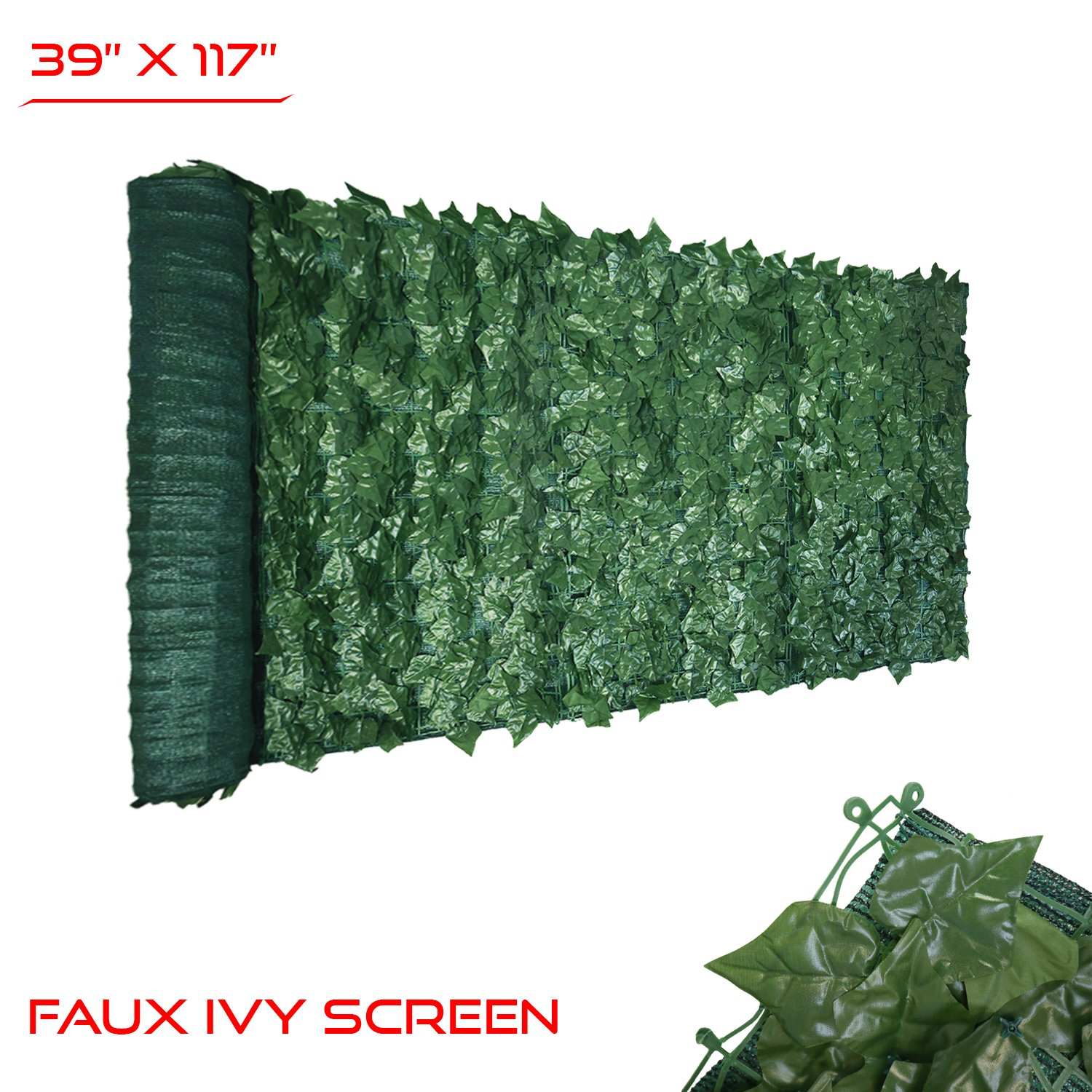 The Patio Shop 39'' x 117'' Fence Screen Faux Ivy Privacy with Mesh Back-Artificial Leaf Vine Hedge Perfect for Outdoor Décor Garden Backyard Decoration Panels Fence Cover