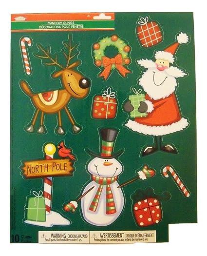 Christmas Celebration Cartoon Images.Amazon Com Christmas Reusable Glitter Window Clings North