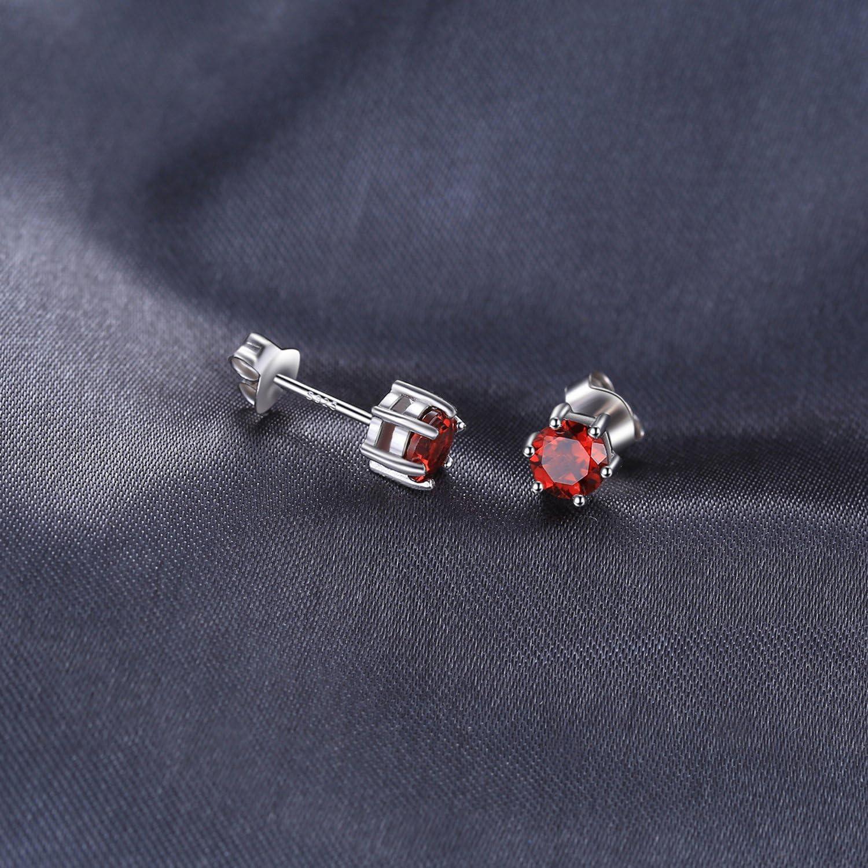 JewelryPalace Magnifique Boucles dOreilles Clous et Puces Femme Filles en Argent sterling 925 en Am/éthyste Citrine Grenat P/éridot Ciel Bleu Topaze Zirconium Cubique CZ Ronde