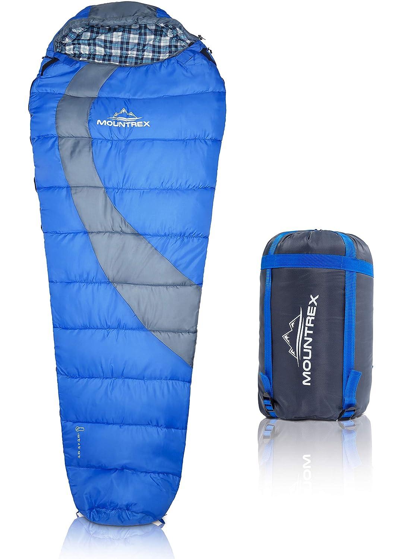 Premium momia saco de dormir para senderismo, Camping y Backpacking: ultraligera 220 x 80 cm Viaje Saco de dormir con capucha, cuello & cordón - Impermeable ...