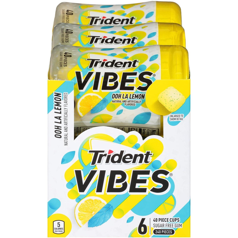 Trident Vibes Sugar Free Gum, Ooh La Lemon Flavor, 6 Go-Cup (240 Pieces Total)