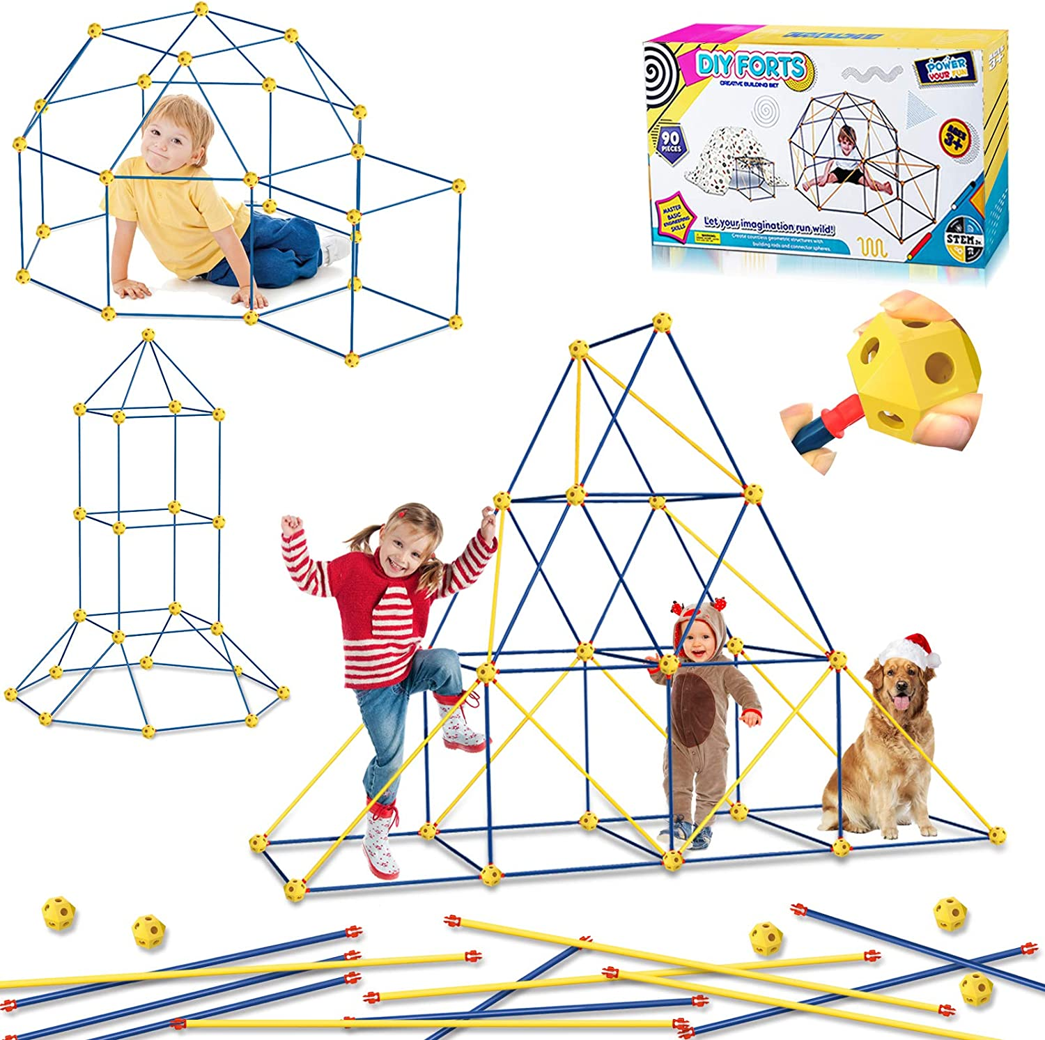 HOMOFY Fort Building Kit Tent for Kids Play Tents - Fun Forts STEM Building Toys,Play Tent Fort Kit with 90 Pcs Foldable Playhouse Toy for Indoor & Outdoor Gifts for Kids 3 4 5 6 Year Olds Boys Girls