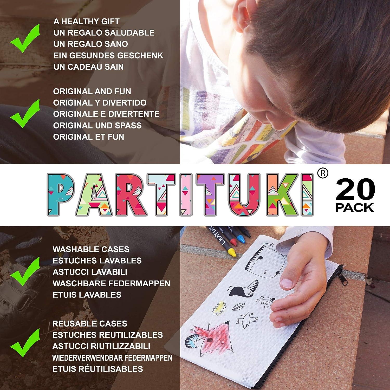 Partituki 20 Estuches Infantiles para Colorear, 20 Sets de 5 Ceras de Colores y una Guirnalda Roja de 20 m. Detalle Ideal para Regalos de Fiestas de ...