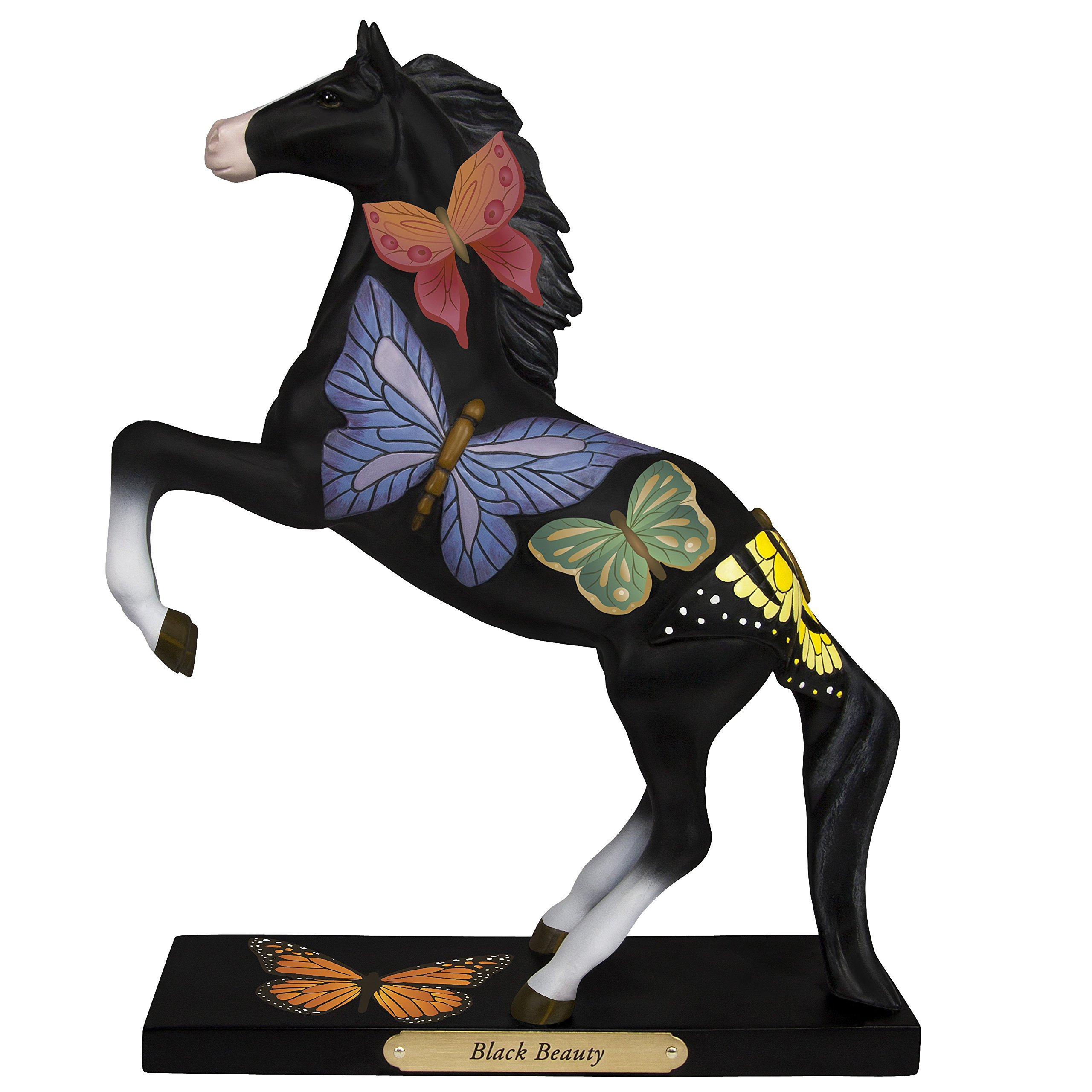 "Enesco Trail Painted Ponies ""Black Beauty"" Stone Resin Horse Figurine, 8.23"""