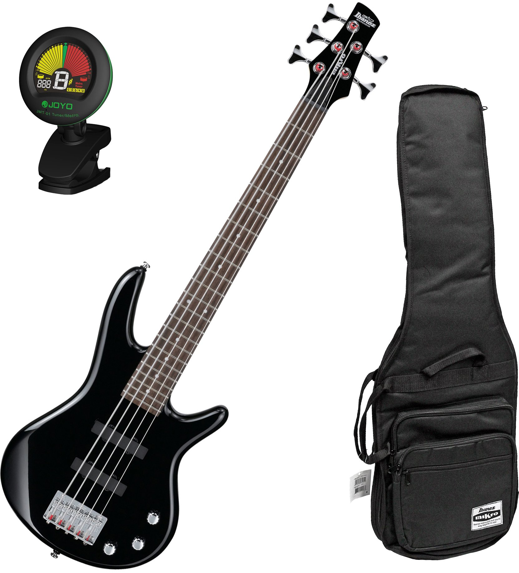 Ibanez GSRM25BK Black 5-String MIKRO Junior Bass Guitar w/ Free Ibanez Gig Bag and Tuner!