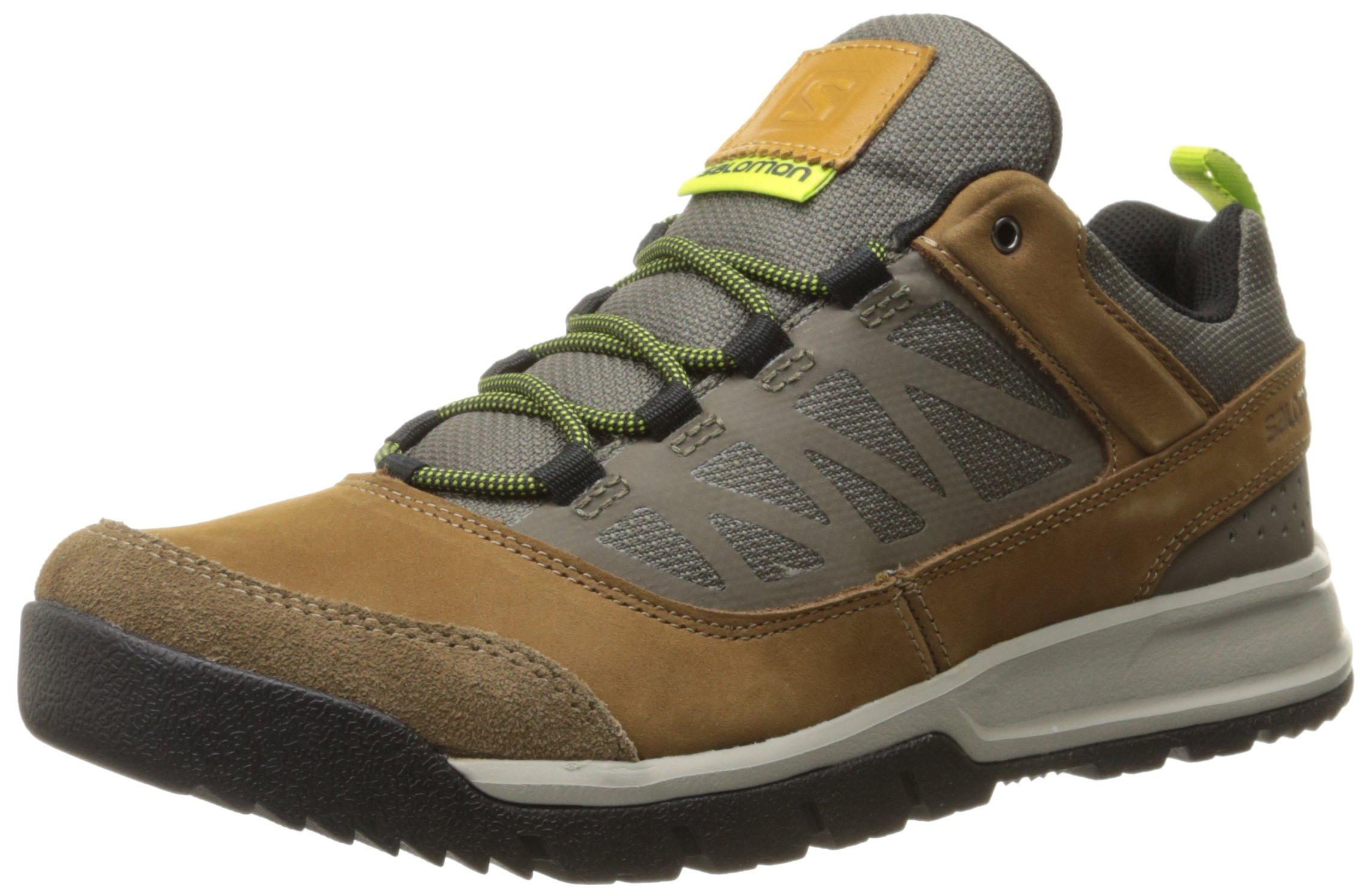 Salomon Men's Instinct Travel Outdoor Lifestyle Shoe, Camel LTR/Swamp/Green Glow, 11 D US