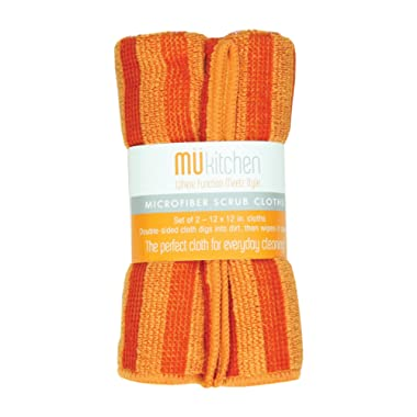 MUkitchen Microfiber Cleaning Cloth, 12 by 12-Inches, Set of 2, Orange