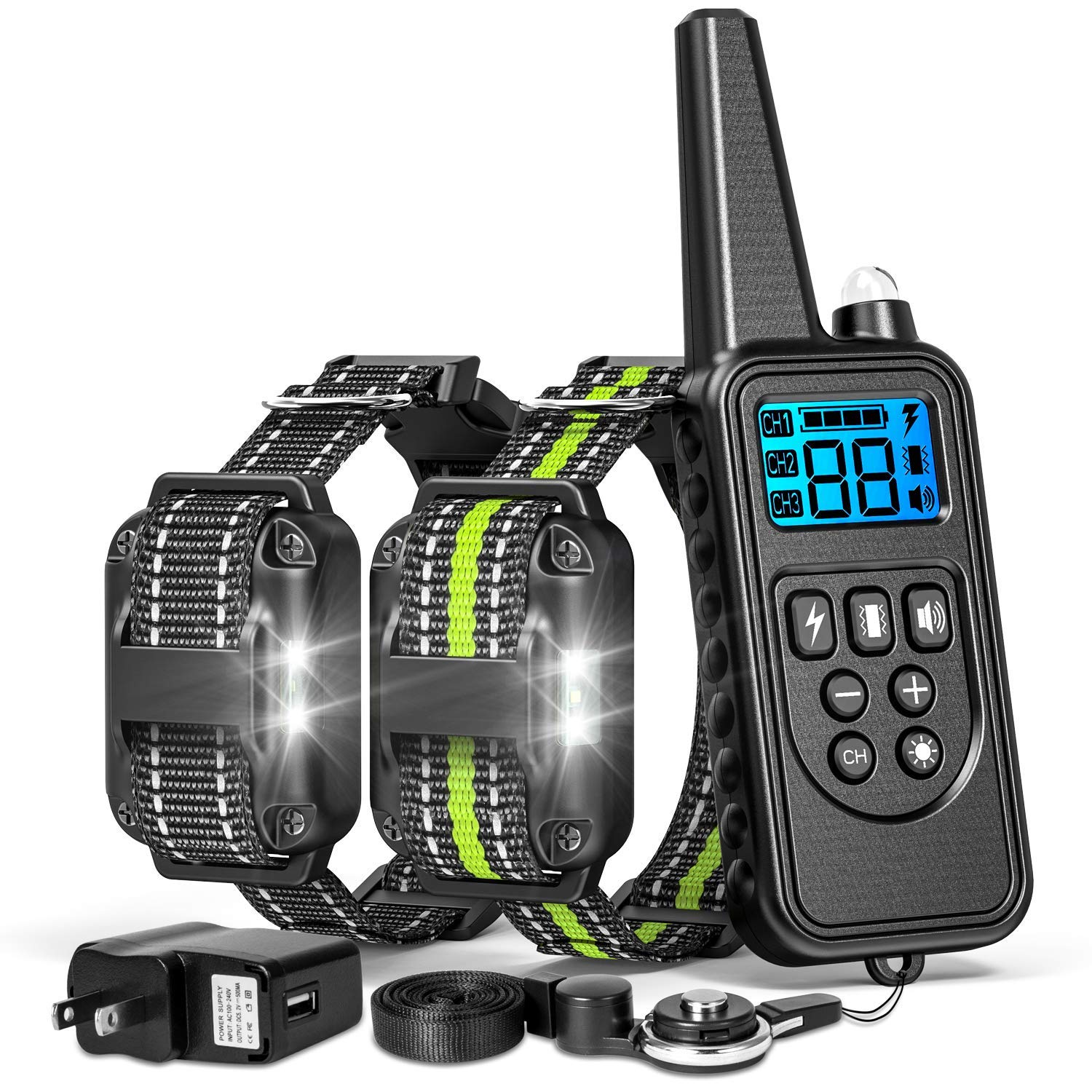 2600ft Remote Range, For 2 Dogs FunniPets Dog Training Collar, 2 Dog Shock Collar with Remote 2600ft Range Waterproof Electronic Dog Collar for Medium and Large Breed Dogs with 4 Training Modes Light Shock Vibration Beep