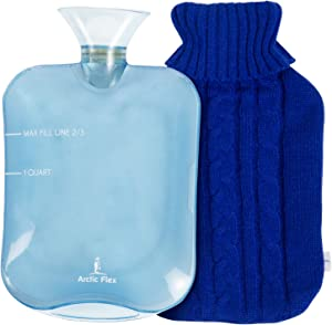 Arctic Flex Hot Water Bottle - Heat Up and Refreezable Cold Pack - XL Rubber Compress with Cover - Portable, Reusable, Reheatable and Transparent Ice Bag - Therapy Heating Pad - Warming Pain Relief