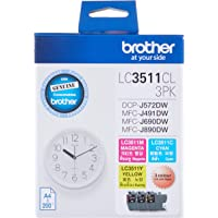 Brother LC3511CL3PK Original Ink Cartridge Compatible with DCP/MFC Series, 200 Pages, Cyan/Magenta/Yellow (Pack of 3)