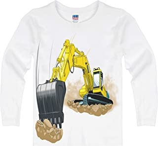 product image for Shirts That Go Little Boys' Long Sleeve Yellow Excavator T-Shirt