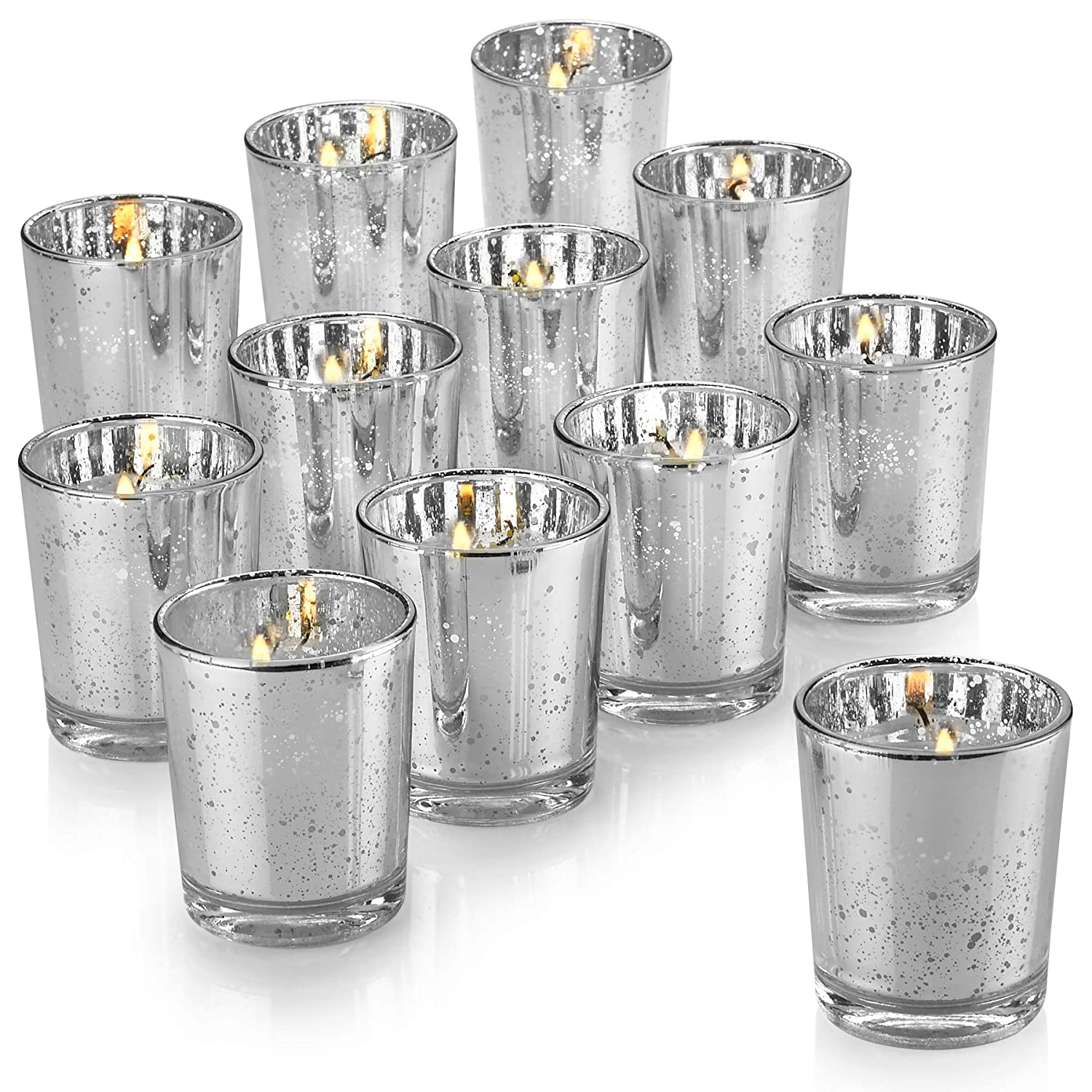 547819277b Amazon.com: PARNOO Mercury Glass Candle Holders for Votive Candles and  Tealights Set of 12 – Sparkled Silver Finish Perfect for Wedding and Home  Decor: Home ...