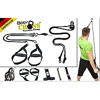 BodyCROSS Premium Schlingentrainer Komplettset | Premium Sling und Sling mit Umlenkrolle | abnehmbare Griffe | inkl. Übungsposter, Trainingsplan, Türanker, Befestigungsschlaufe | Made in Germany