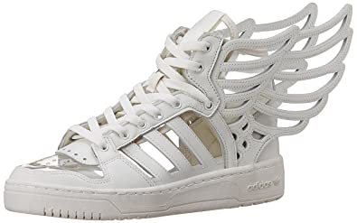 adidas Originals Unisex Js Wings 20 Cutout White, White and White Leather  Sneakers - 8