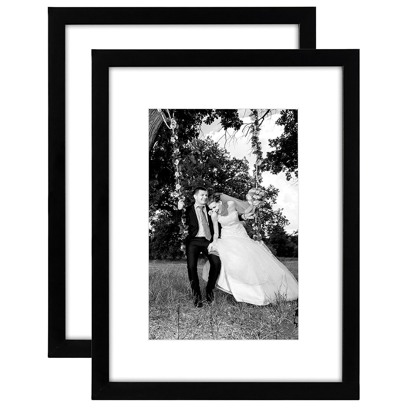 Americanflat 2 Pack - 12x16 Black Picture Frames - Display Pictures 8x12 with Mats - Display Pictures 12x16 Without Mats - Glass Fronts - Hanging Hardware Included by Americanflat