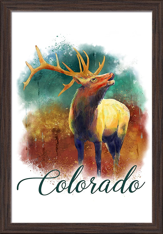 Elk Colorado 24x36 Giclee Art Print, Gallery Framed, White Wood Watercolor