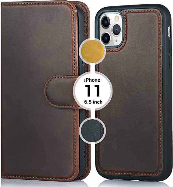iPhone 11 Pro Max Case,iPhone Pro Max Cases,iPhone 11 ProMax Men//Womens Leather Wallet Type Flip Premium Credit Card Holder Case with Wrist Strap Detachable Magnetic Back Cover
