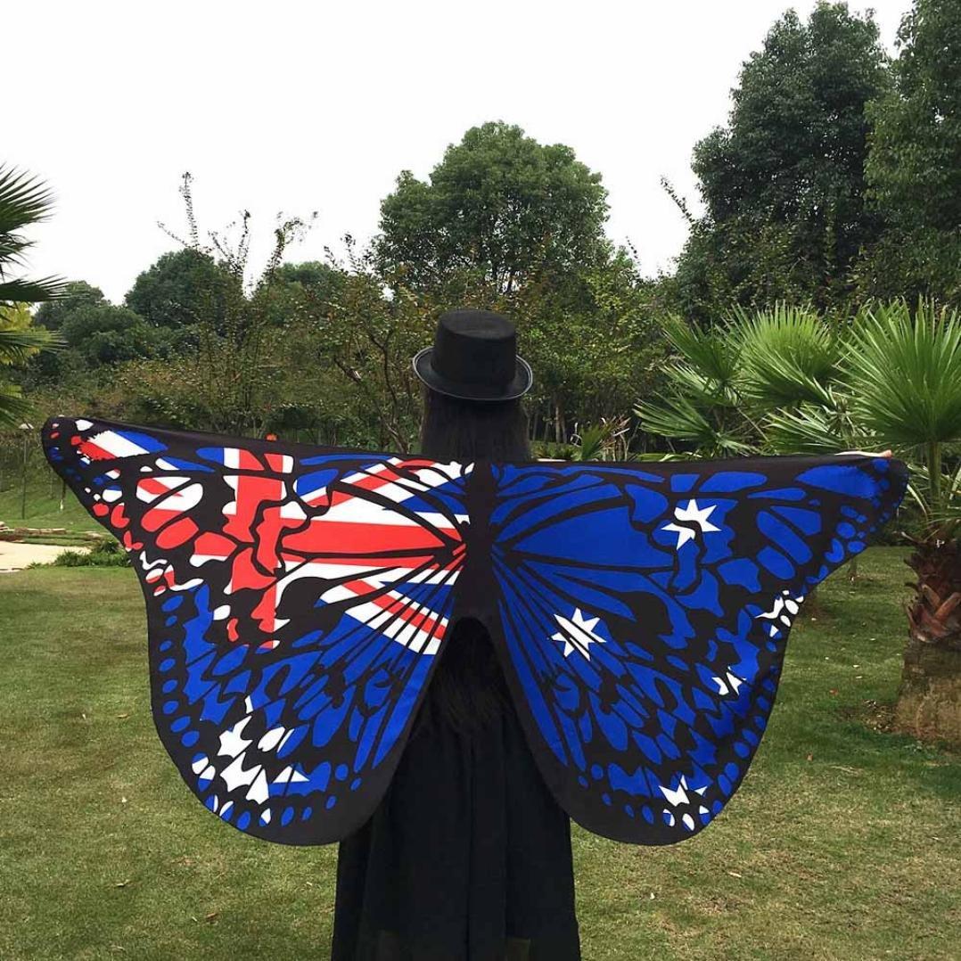 Black Chiffon Capes Kanpola Kids Child Bohemian Butterfly Print Shawl Pashmina Costume Accessory