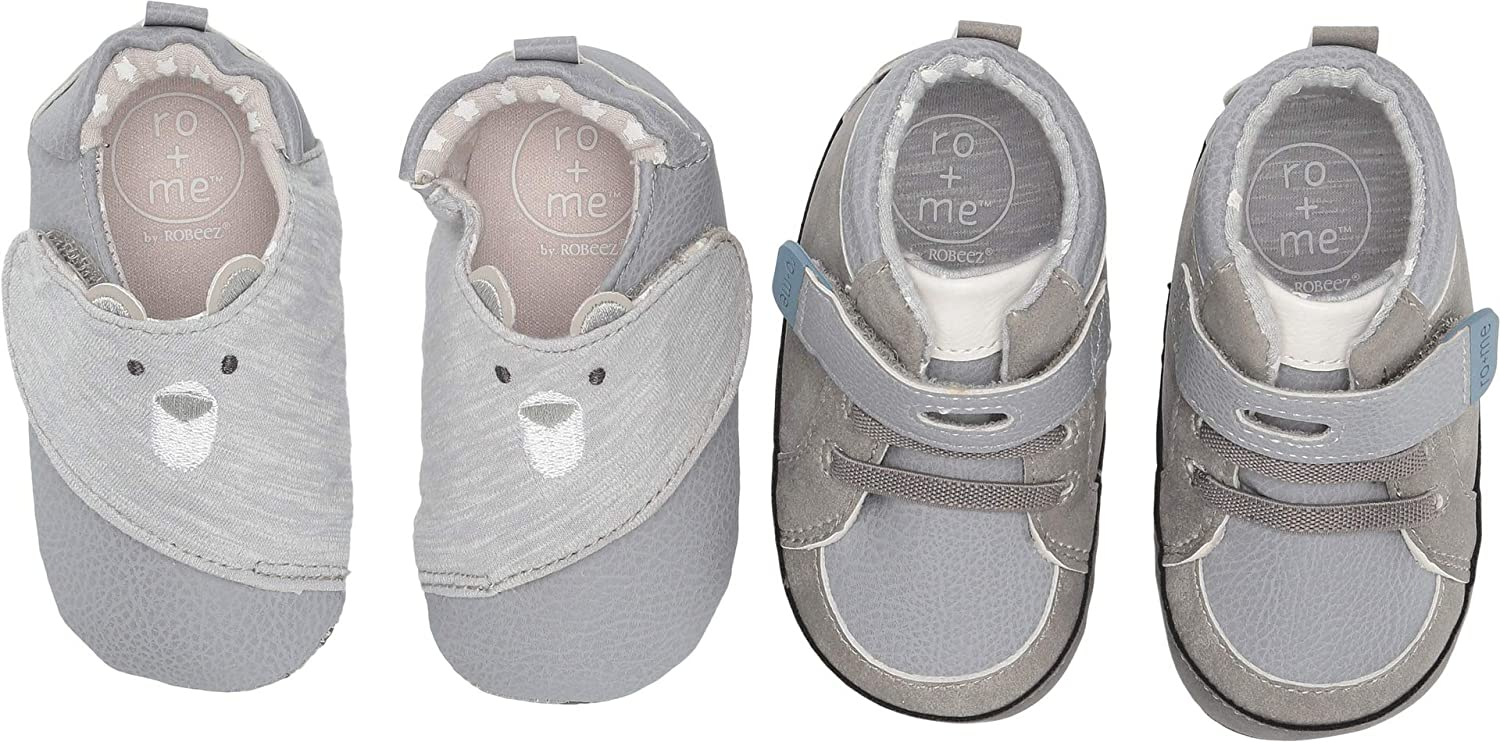 Robeez Baby Boy S Ro Me Bear 2 Pack Infant Toddler Grey Natural Navy 12 18 Months M Us Infant Amazon Co Uk Shoes Bags