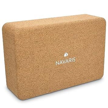 Navaris 2X Bloques para Yoga de Corcho - Bloques Eco Antideslizantes para Yoga y Pilates - Ladrillos para Ejercicio y Equilibrio - 22.5 x 14.5 x 7.6CM